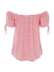 Womens Coral Striped Knot Sleeve Bardot Top