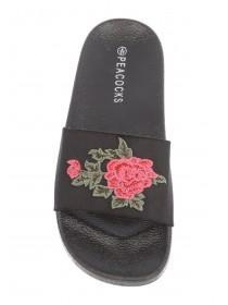 Womens Black Embroidered Beach Sliders