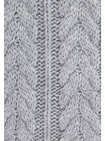 Womens Grey Cable Knit Scarf