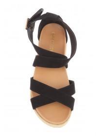 Womens Black Flatform Sandals