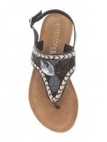 Womens Black Embroidered Toe Post Sandals