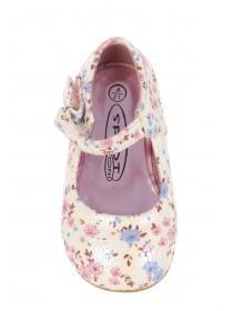 Girls Pink Floral Fabric Ballerina Shoe