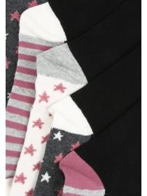 Womens 5PK Black Design Socks