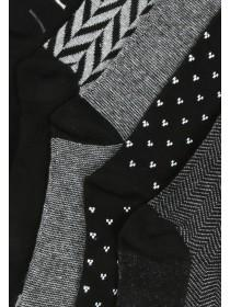 Mens 5PK Black Monochrome Design Socks