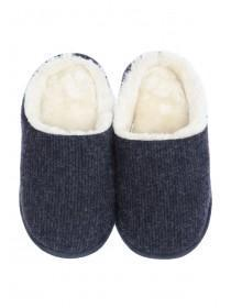 Mens Navy Mule Slippers