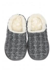 Mens Grey Knitted Slippers