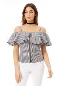 Jane Norman Monochrome Gingham Ruffle Top