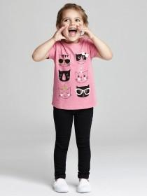 Younger Girls Pink Cat T-Shirt