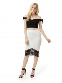 Jane Norman Black Bardot Crop Top