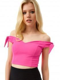 Jane Norman Pink Bardot Crop Top