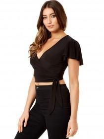 Jane Norman Black Wrap Crop Top