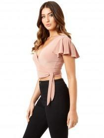 Jane Norman Pale Pink Wrap Crop Top