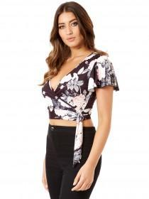 Jane Norman Floral Wrap Crop Top
