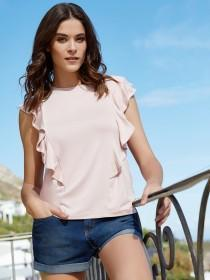 Womens Pale Pink Front Frill Vest