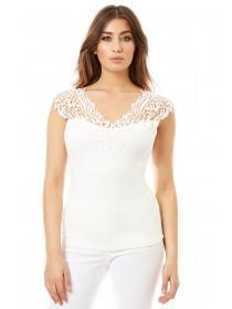 Jane Norman White Brocade Detail Top