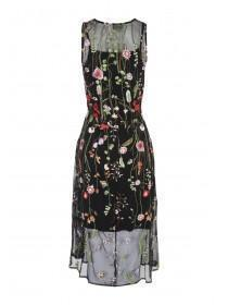 Womens Black Embroidered Mesh Dress