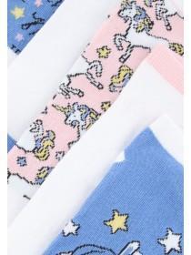 Girls 5PK Blue Unicorn Design Trainer Socks