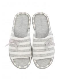 Womens Grey Open Toe Slippers