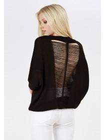 Jane Norman Black Ladder Detail Batwing Jumper