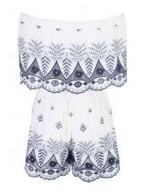 Womens White Embroidered Bardot Playsuit