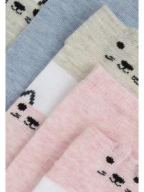 Girls 5PK Pale Pink Cat Design Trainer Socks