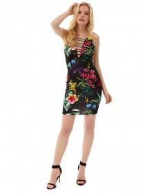 Jane Norman Floral Ladder Detail Dress
