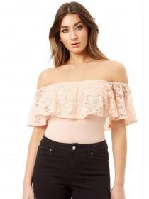 Jane Norman Pale Pink Lace Ruffle Bardot Bodysuit