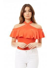 Jane Norman Orange Cross Neck Ruffle Bardot Top