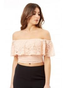 Jane Norman Pale Pink Lace Ruffle Crop Top