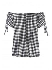 Womens Black Gingham Bardot Top