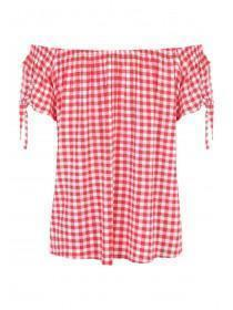 Womens Red Gingham Bardot Top
