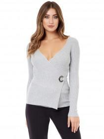 Jane Norman Grey Wrap Eyelet Jumper
