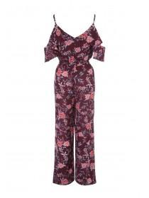 Womens Purple Wrap Front Georgette Jumpsuit