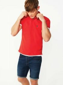 Mens Red Tipped Polo Shirt