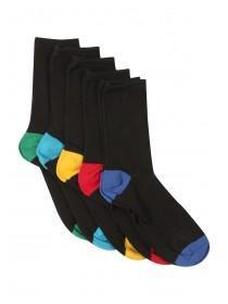 Boys 5pk Colour Heel Socks