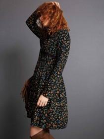 Womens Floral Lace Trim Dress
