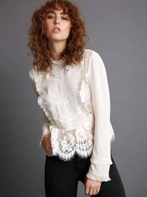 Womens White Lace Long Sleeve Top