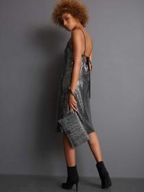 Womens Black Animal Print Metallic Clutch Bag