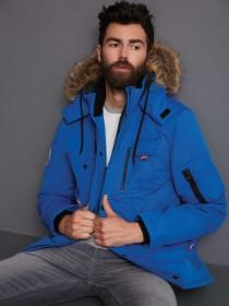 Mens Blue Long Line Parka Coat