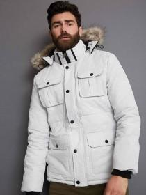 Mens Light Grey Padded Coat