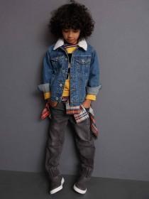 Younger Boys Blue Denim Borg Collar Jacket
