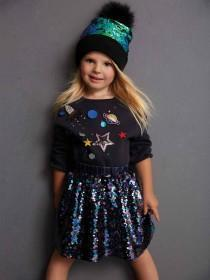 Younger Girls Navy Space Sweater