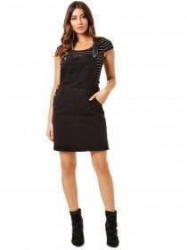 Jane Norman Black Denim Pinafore Dress