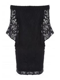 Womens Black Lace Bardot Dress