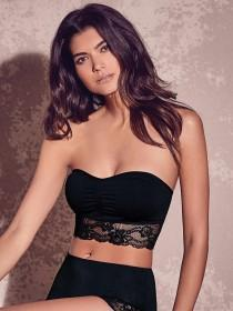 Womens Black Seamfree Lace Trim Bandeau Bra