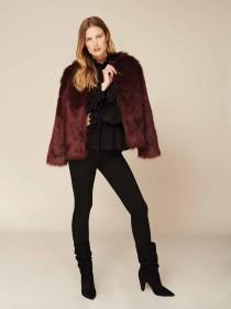 Womens Purple Short Fur Coat