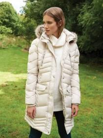 Womens Natural Longline Padded Coat