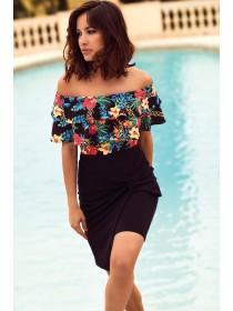 Jane Norman Black Floral Bardot Bodysuit