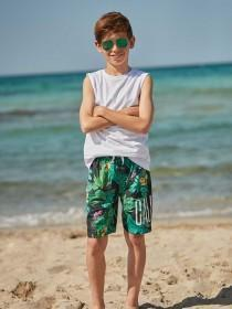 Older Boys Green Cactus Swimshorts