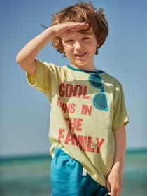 Younger Boys Lime Green Slogan T-Shirt